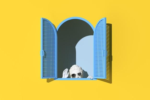 Minimale szene des versteckens menschlicher skulptur in blauem fenster auf gelbem wandhintergrund, minimales konzept, 3d-rendering.