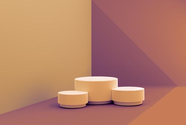 Minimale szene in sandfarben, podium für die präsentation kosmetischer produkte. abstrakter hintergrund mit geometrischer podiumplattform in den pastellfarben.