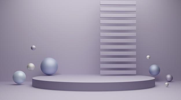 Minimale szene mit geometrischen formen für die 3d-darstellung der produktanzeige.