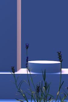 Minimale szene mit geometrischen formen in blauen farben vertikale szene mit lavendel