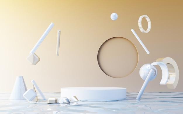 Minimale szene mit podium. gold- und weiße szene. trendy für social-media-banner, werbung, kosmetikproduktshow. geometrische formen auf nassem wasser 3d-rendering