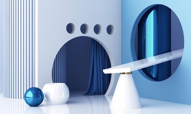 Minimale szene mit podium und abstraktem hintergrund. blaue und weiße szene. trendy für social media banner, promotion, kosmetikproduktshow. 3d-rendering der geometrischen formen im inneren