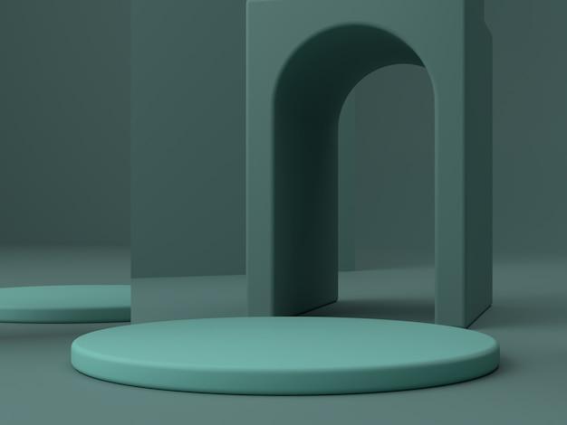 Minimale szene mit podium und abstraktem hintergrund. geometrische figur. grüne farbszene.