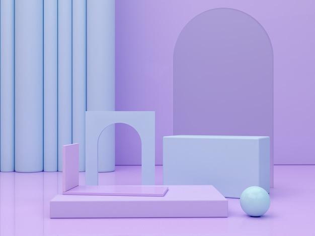Minimale szene mit podium und abstraktem hintergrund geometrische formen pastellfarben szene