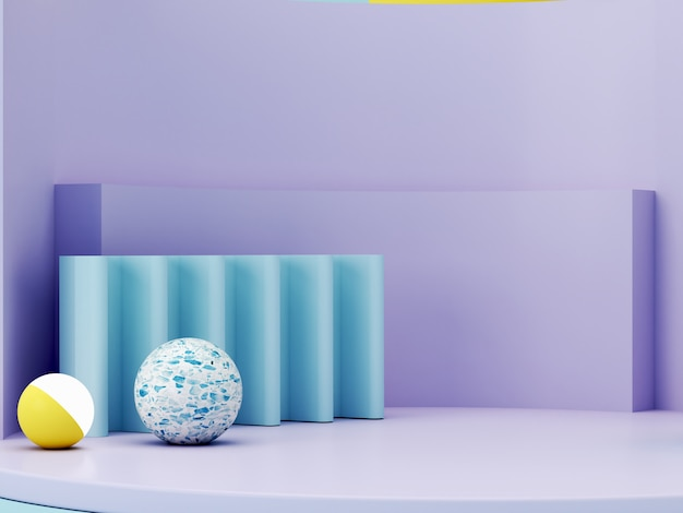 Minimale szene mit podium und abstraktem hintergrund. geometrische formen. pastellfarbenszene. minimales 3d-rendering. szene mit geometrischen formen und strukturiertem hintergrund für kosmetisches produkt. 3d rendern.
