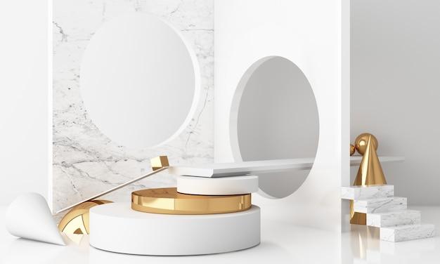 Minimale szene mit podium und abstraktem hintergrund. gold-weiß-szene. trendy für social media banner, promotion, kosmetikproduktshow. 3d-rendering der geometrischen formen im inneren