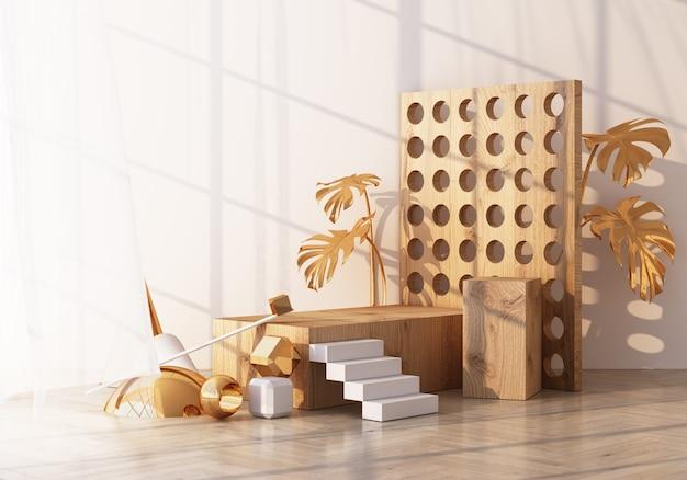 Minimale szene mit podium und abstraktem hintergrund. gold-weiß-szene. trendy für social media banner, promotion, kosmetikproduktshow. innenarchitektur 3d der geometrischen formen der holzbeschaffenheit