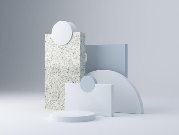 Minimale szene mit podium und abstraktem hintergrund mit geometrischen formen