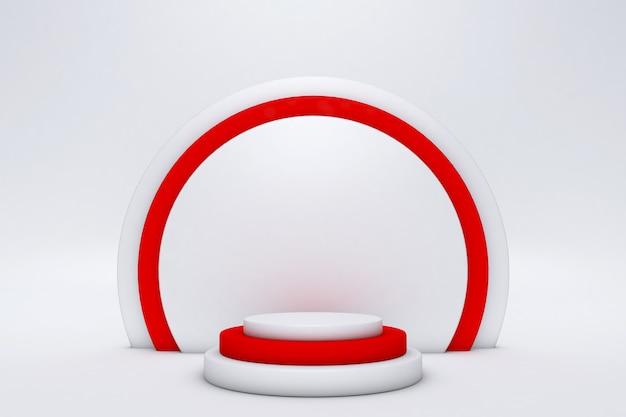Minimale szene mit rotem podium lokalisiert auf weißem hintergrund geometrische formen minimale 3d-rendering-szene mit geometrischen formen und sauberem hintergrund