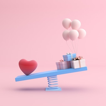Minimale szene von herz und ballon mit geschenken auf schaukelstuhl