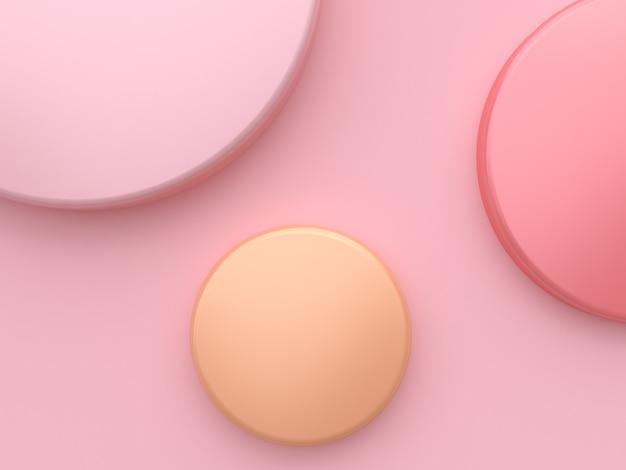 Minimale weiche rosa wiedergabe des hintergrundes 3d der rosa orange kreisform