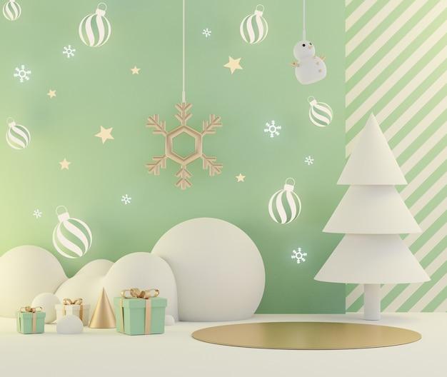 Minimale weihnachtsszene 3d mit podium für modell und produktpräsentation