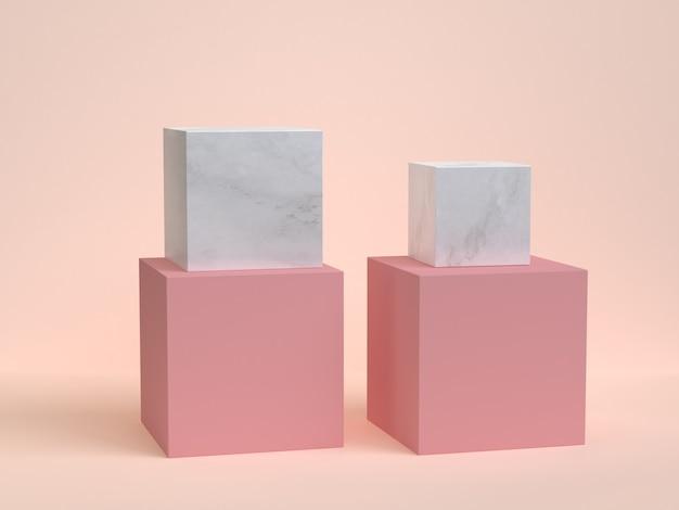 Minimale wiedergabe der creme 3d des rosa marmorbeschaffenheitswürfelkasten-podiums