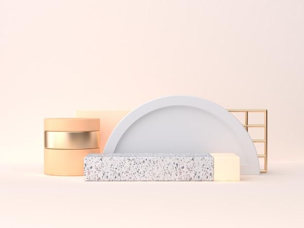 Minimale wiedergabe der szene 3d der marmorgoldorangen geometrischen form