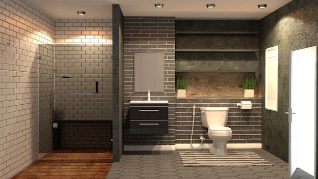 Minimale ziegel und stein badezimmer. 3d-rendering