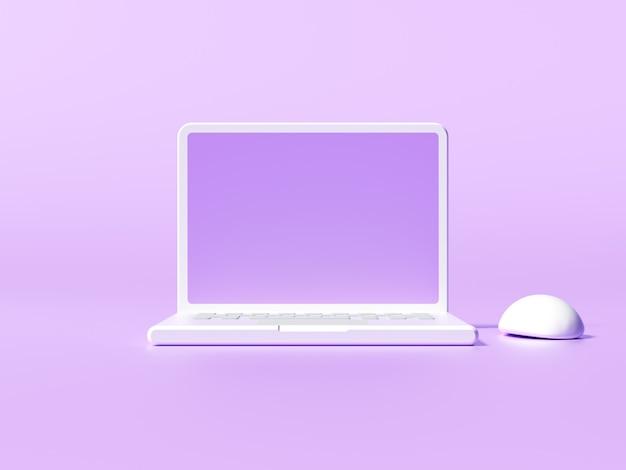 Minimaler 3d-desktop mit leerem bildschirmmodell, leerem bildschirm für text und logo-ersatzkonzept. 3d-darstellung.