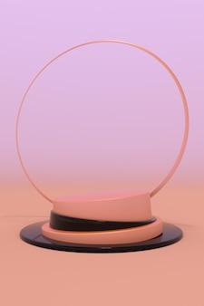 Minimaler 3d-hintergrund für die produktpräsentation orange rundes podium rendern illustration