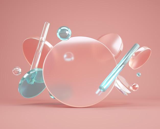 Minimaler 3d hintergrund mit glasfliegenzylindern, röhren und transparenten quadratischen formen. schöne geometriekomposition für werbung, produktdesign mit leerem raum.
