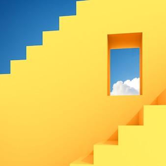 Minimaler abstrakter gebäuderaum mit quadratischem fenster und treppe auf hintergrund des blauen himmels, architektonisches design mit schatten und schatten auf gelber oberfläche. 3d-rendering.