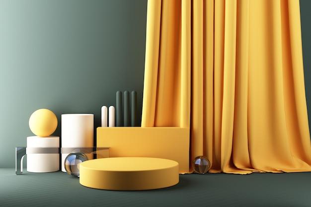 Minimaler abstrakter geometrischer hintergrund mit direktem sonnenlicht in grün- und gelbtönen. schaufensterszene mit leerem podium für produktpräsentation 3d-rendering