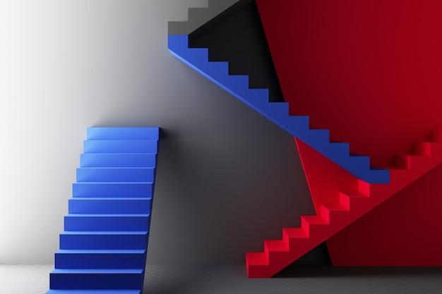 Minimaler abstrakter geometrischer hintergrund mit direktem sonnenlicht in rot- und blautönen. schaufensterszene mit leerem podium für produktpräsentation 3d-rendering
