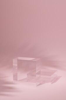 Minimaler background.podium mit rosa hintergrund. 3d-rendering-abbildung.