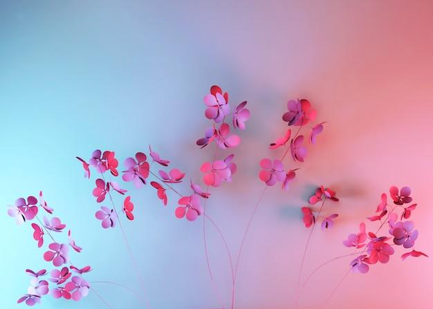 Minimaler blumenhintergrund 3d mit rosa frühlingsblumen. stilvoller trendiger abstrakter blauer rosa farbverlaufshintergrund. gruß- oder einladungskarte.