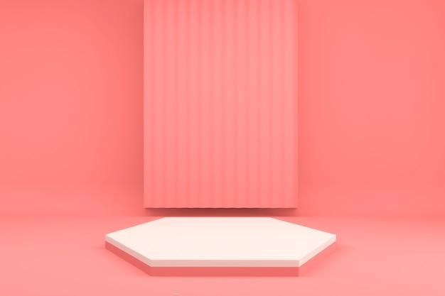 Minimaler entwurf des sechseckrosa-podiums auf rosa hintergrund 3d rendern