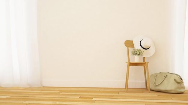 Minimaler entwurf des wohnzimmers oder der galerie - wiedergabe 3d