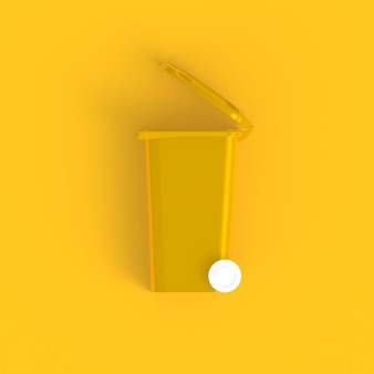 Minimaler gelber hintergrund der wheelie-behälterzusammenfassung, wiedergabe 3d