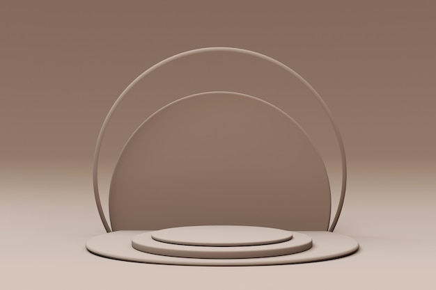 Minimaler geometrischer hintergrund für die produktpräsentation rundes beigefarbenes podium 3d-rendering-illustration