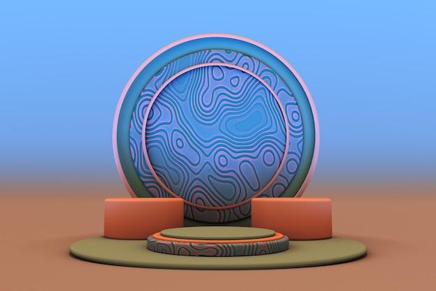 Minimaler geometrischer hintergrund für die produktpräsentation rundes blau-oranges podium auf pastellfarbenem hintergrund
