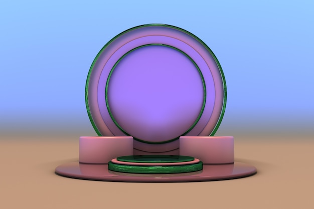 Minimaler geometrischer hintergrund für die produktpräsentation rundes blaues rosa podium auf pastellfarbenem farbverlauf 3d 3