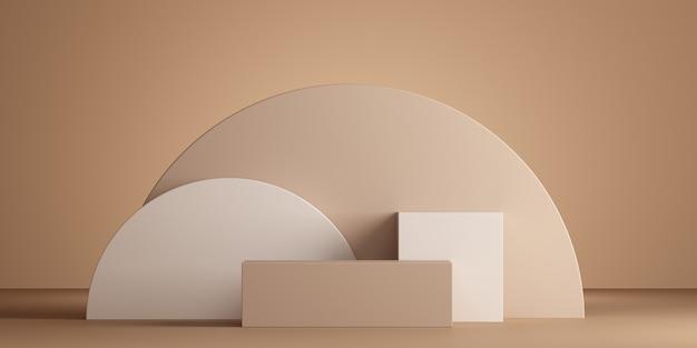 Minimaler geometrischer podiumbrauner hintergrund für produktpräsentation 3d-rendering-illustration