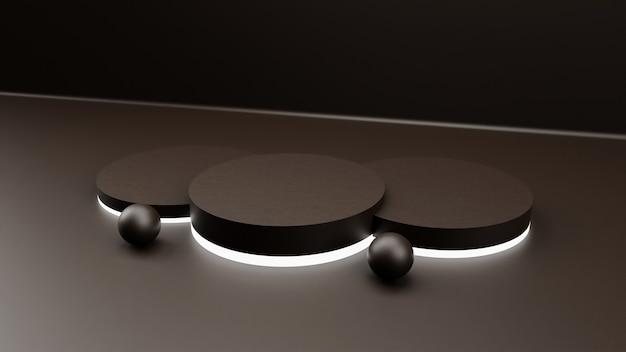 Minimaler hintergrund des 3d-renderings, szene mit podium und neonlicht für produktanzeige.