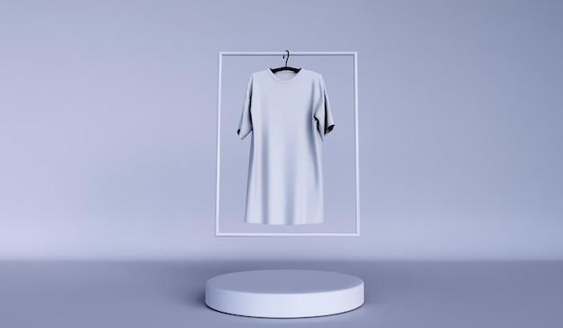 Minimaler hintergrund, mock-up-szene mit podium für die produktanzeige. und schlichtes weißes t-shirt