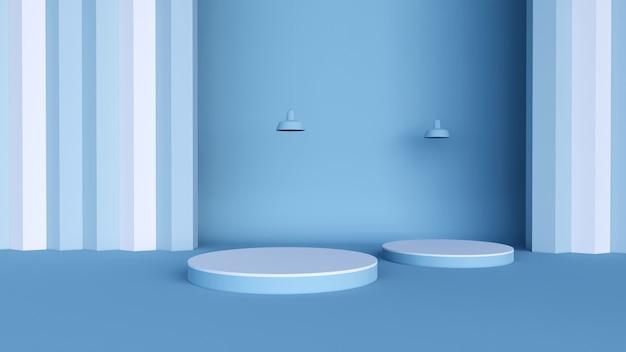 Minimaler hintergrund, mock-up-szene mit podium für produktanzeige und licht. 3d-rendering