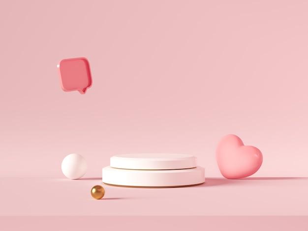 Minimaler hintergrund, modell mit podium für produktanzeige, abstrakte weiße geometrieform