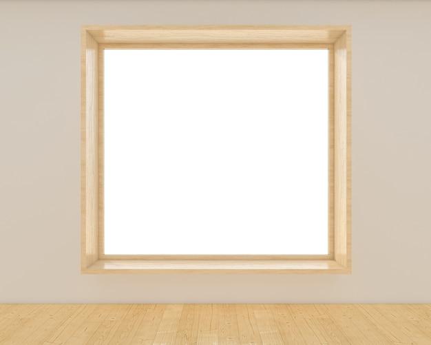 Minimaler leerer holzfensterrahmen