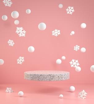 Minimaler leerer podiumschwimmer des 3d-renders mit schnee und schneeflockenrosa, die auf rosa hintergrundillustration fallen