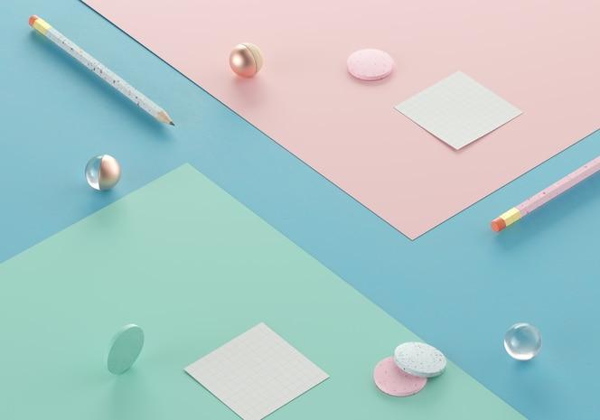 minimaler leerraum für produktszene auf pastellhintergrund, flaches büttenpapier mit objekten, bleistift und note 3d rendern illustration