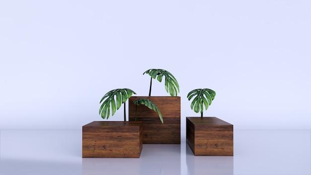 Minimaler luxus brauner feiner holzkastenpodest und grüner blätter auf weiß
