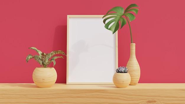 Minimaler rahmen auf holzregal mit pflanzen im raum mit rosa wand. 3d-rendering.