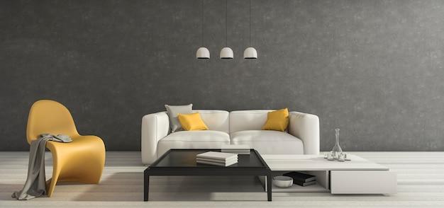 Minimaler raum des dachbodens der wiedergabe 3d mit möbeln des guten designs