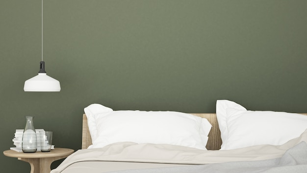 Minimaler raum des innenschlafzimmers in der hotel- und wanddekorationstabellenrampe - wiedergabe 3d