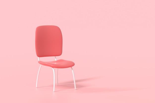 Minimaler roter stuhl auf rosa hintergrund. geschäftseinstellung und stellenangebotskonzept. 3d-render-darstellung