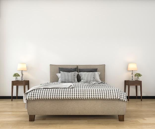 Minimaler spott der weinlese der wiedergabe 3d herauf schlafzimmer in der skandinavischen art