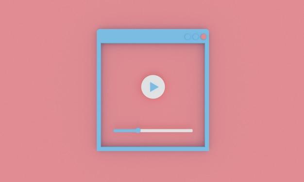 Minimaler stil des pastell-videoplayer-fensters