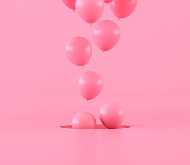 Minimaler stil von rosa luftballons, die aus loch, geschenkidee, 3d-wiedergabe herausschwimmen.