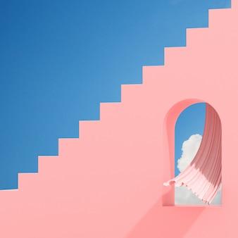 Minimales abstraktes gebäude mit bogenfenster und fließvorhang auf blauem himmel, architektonisches design mit schatten und schatten auf rosa textur. 3d-rendering.